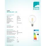 EGLO 11502 | E27 4W -> 33W Eglo nagy gömb G95 LED fényforrás filament 350lm 2700K 360° CRI>80
