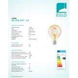 EGLO 11556 | E27 4W -> 30W Eglo nagy gömb G80 LED fényforrás filament 330lm 2200K 360° CRI>80