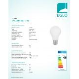 EGLO 11596   E27 8W -> 60W Eglo normál A60 LED fényforrás filament, milky 806lm 2700K 360° CRI>80