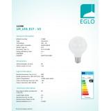 EGLO 11598   E27 8W -> 60W Eglo nagy gömb G80 LED fényforrás filament, milky 806lm 2700K 360° CRI>80