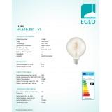EGLO 11683   E27 4W -> 25W Eglo nagy gömb G125 LED fényforrás filament, Spiral 260lm 2200K 360° CRI>80