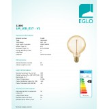 EGLO 11693 | E27 4W -> 30W Eglo nagy gömb G95 LED fényforrás filament, golden age 320lm 1700K szabályozható fényerő 360° CRI>80