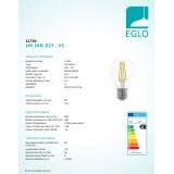 EGLO 11701 | E27 6W -> 60W Eglo normál A60 LED fényforrás filament 806lm 2700K szabályozható fényerő 360° CRI>80