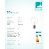 EGLO 11705   E27 4W -> 35W Eglo normál A60 LED fényforrás filament, northern lights 390lm 2200K szabályozható fényerő 360° CRI>80