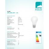 EGLO 11765 | E27 8W -> 75W Eglo normál A60 LED fényforrás 320° 1055lm 2700K 320° CRI>80