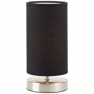 BRILLIANT 13247/06 | Clarie Brilliant asztali lámpa 25,5cm vezeték kapcsoló 1x E14 szatén nikkel, fekete