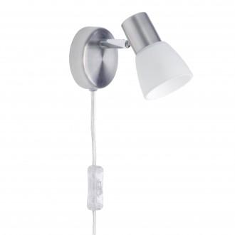 BRILLIANT 35812/77 | LucaB Brilliant spot lámpa vezeték kapcsoló elforgatható alkatrészek 1x E14 szatén nikkel, króm, fehér