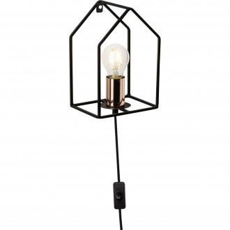 BRILLIANT 93693/29 | HomeB Brilliant falikar lámpa vezeték kapcsoló 1x E27 fekete, vörösréz