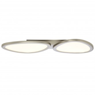 BRILLIANT G90284/68 | Stone-BRI Brilliant mennyezeti lámpa távirányító szabályozható fényerő 1x LED 3700lm 2700 <-> 6200K nikkel, fehér