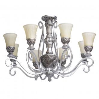 CHIARO 254010908 | Bologna-MW Chiaro mennyezeti lámpa 8x E27 5160lm antikolt ezüst, krémszín
