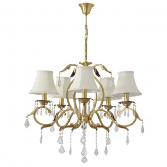 CHIARO 355011805 | Sofia-MW Chiaro csillár lámpa 5x E14 3225lm sárgaréz, fehér, átlátszó