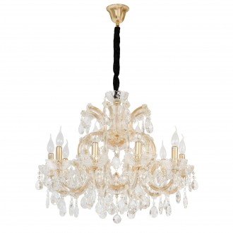 CHIARO 405010810 | Odetta-MW Chiaro csillár lámpa 10x E14 6450lm arany, kristály, fekete