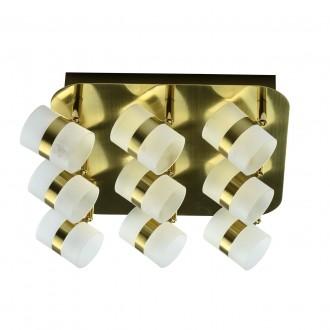 DE MARKT 704010909 | Galaxy-MW De Markt mennyezeti lámpa elforgatható alkatrészek 9x LED 1800lm 3000K IP44 matt arany, opál