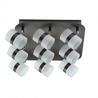 DE MARKT 704011009 | Galaxy-MW De Markt mennyezeti lámpa elforgatható alkatrészek 9x LED 1800lm 3000K IP44 antikolt ezüst, opál