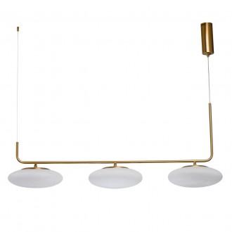 DE MARKT 722010903 | Auksis De Markt függeszték lámpa 3x LED 7200lm 3000K matt arany, opál