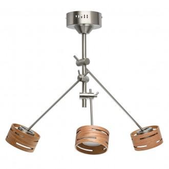 DE MARKT 725010103 | Chill-out De Markt mennyezeti lámpa szabályozható fényerő, elforgatható alkatrészek 3x LED 1500lm 3000K szatén nikkel, fa., opál