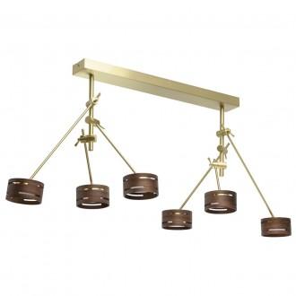 DE MARKT 725010406 | Chill-out De Markt mennyezeti lámpa elforgatható alkatrészek 6x LED 3000lm 3000K matt arany, fa., opál
