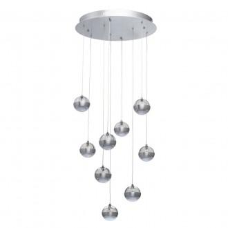 DE MARKT 730010209 | Coppelia De Markt függeszték lámpa távirányító szabályozható fényerő 9x LED 4860lm 3000K alumínium, savmart, átlátszó
