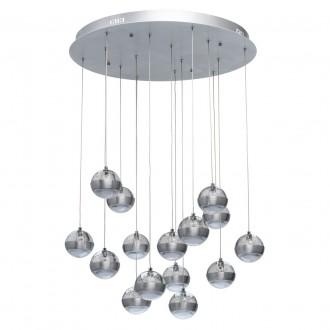 DE MARKT 730010315 | Coppelia De Markt függeszték lámpa távirányító szabályozható fényerő, éjjelifény 15x LED 8100lm 3000K alumínium, savmart, átlátszó