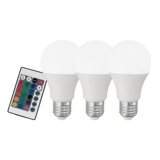 EGLO 10681 | E27 7,5W -> 40W Eglo normál A60 LED fényforrás RGB-WW 470lm 3000K szabályozható fényerő, színváltós, 3 darabos szett távirányító CRI>80