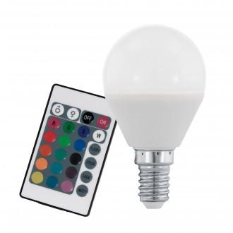 EGLO 10682 | E14 4W -> 28W Eglo kis gömb P45 LED fényforrás RGB-WW 300lm 3000K szabályozható fényerő, színváltós távirányító CRI>80