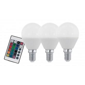 EGLO 10683 | E14 4W -> 28W Eglo kis gömb P45 LED fényforrás RGB-WW 300lm 3000K szabályozható fényerő, színváltós, 3 darabos szett távirányító CRI>80
