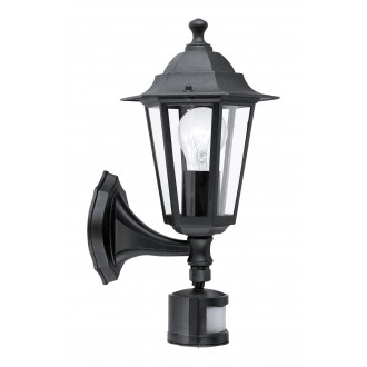 EGLO 22469 | Laterna8 Eglo fali lámpa mozgásérzékelő 1x E27 IP44 fekete, átlátszó