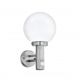 EGLO 27126 | Nisia Eglo fali lámpa mozgásérzékelő 1x E27 IP44 nemesacél, rozsdamentes acél, fehér