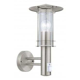 EGLO 30185 | Lisio Eglo fali lámpa mozgásérzékelő 1x E27 IP44 nemesacél, rozsdamentes acél, átlátszó
