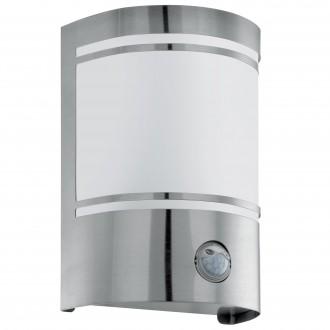 EGLO 30192 | Cerno Eglo fali lámpa mozgásérzékelő 1x E27 IP44 nemesacél, rozsdamentes acél, fehér, szatén