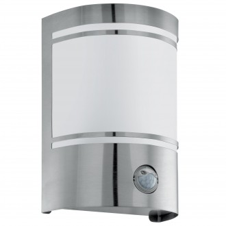 EGLO 30192 | Cerno Eglo fali lámpa mozgásérzékelő 1x E27 IP44 nemesacél, rozsdamentes acél, fehér