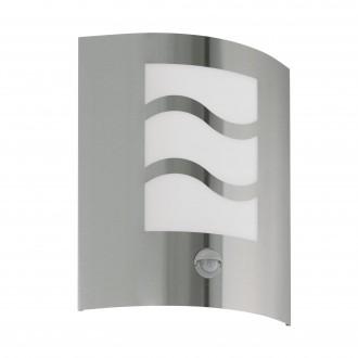 EGLO 30194 | City2 Eglo fali lámpa mozgásérzékelő 1x E27 IP33 nemesacél, rozsdamentes acél, fehér
