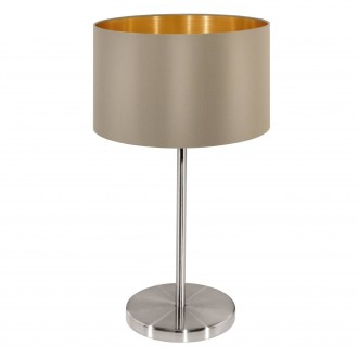 EGLO 31629 | Eglo-Maserlo-T Eglo asztali lámpa 42cm vezeték kapcsoló 1x E27 fényes taupe, arany, matt nikkel