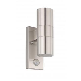 EGLO 32898 | Riga-5 Eglo fali lámpa henger mozgásérzékelő 2x GU10 480lm 3000K IP44 nemesacél, rozsdamentes acél, áttetsző