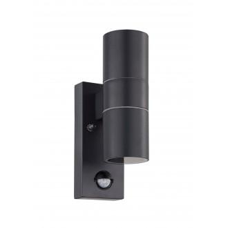 EGLO 32899 | Riga-5 Eglo fali lámpa henger mozgásérzékelő 2x GU10 480lm 3000K IP44 antracit, áttetsző