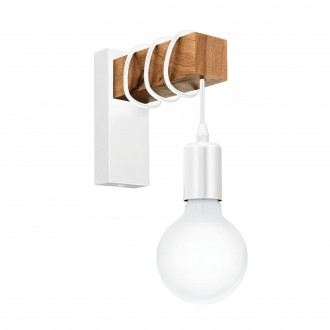 EGLO 33162 | Townshend Eglo falikar lámpa 1x E27 fehér, barna