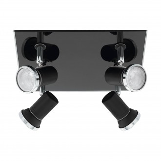 EGLO 33678 | Tamara1-LED Eglo spot lámpa négyzet elforgatható alkatrészek 4x GU10 960lm 3000K IP44 fekete, króm