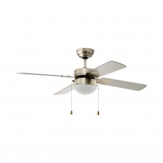 EGLO 35041 | Gelsina Eglo ventilátoros lámpa mennyezeti húzókapcsoló 1x E14 szatén nikkel, ezüst, fehér