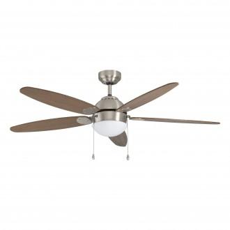 EGLO 35042 | Susale Eglo ventilátoros lámpa mennyezeti húzókapcsoló 1x E14 szatén nikkel, barna, világosbarna
