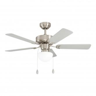 EGLO 35074 | Cadiz-EG Eglo ventilátoros lámpa mennyezeti húzókapcsoló távirányítható 1x E27 szatén nikkel, ezüst, tölgy