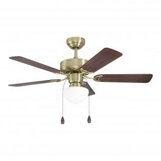 EGLO 35075 | Cadiz-EG Eglo ventilátoros lámpa mennyezeti húzókapcsoló távirányítható 1x E27 bronz, dió, tölgy