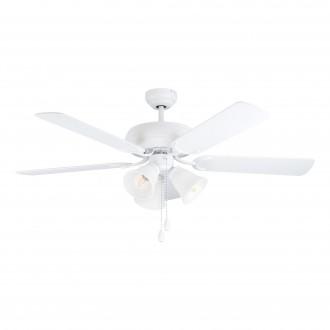 EGLO 35076 | Las-Palmas Eglo ventilátoros lámpa mennyezeti húzókapcsoló távirányítható 3x E27 matt fehér, tölgy
