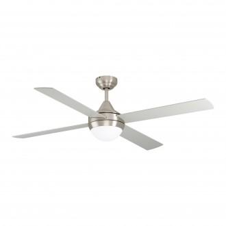 EGLO 35083 | Varadero Eglo ventilátoros lámpa mennyezeti távirányító időkapcsoló 2x E27 szatén nikkel, ezüst, tölgy