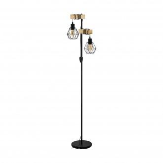 EGLO 43137 | Townshend-5 Eglo álló lámpa 166,5cm vezeték kapcsoló 2x E27 fekete, natúr, barna