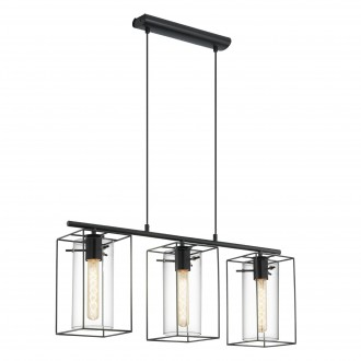 EGLO 49496 | Loncino Eglo függeszték lámpa 3x E27 fekete, füst