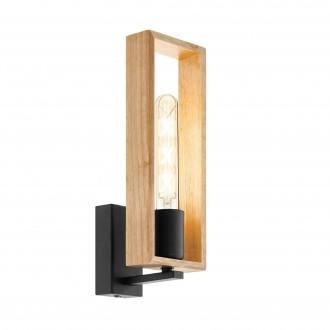 EGLO 49698 | Littleton Eglo falikar lámpa 1x E27 fekete, barna, fa.