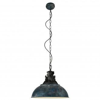 EGLO 49753 | Grantham_1 Eglo függeszték lámpa 1x E27 antikolt kék, fekete