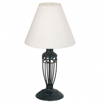 EGLO 83137 | Antica Eglo asztali lámpa 38,6cm vezeték kapcsoló 1x E14 antikolt barna, fehér