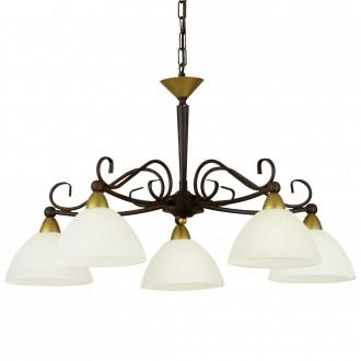 EGLO 85447 | Medici Eglo csillár lámpa 5x E14 antikolt barna, fehér