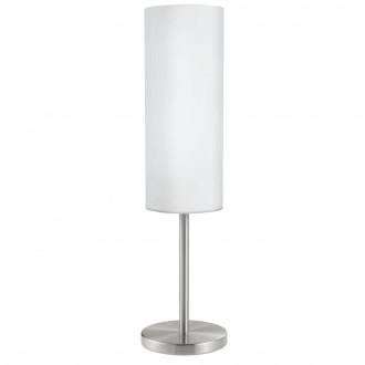 EGLO 85981 | Troy3 Eglo asztali lámpa 46cm vezeték kapcsoló 1x E27 matt nikkel, fehér, szatén